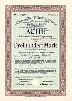 Actien-Zucker-Fabrik Wetterau /Aktie Lit. C 300 Mark 1.7.1920 (Auflage 2216, R 4).