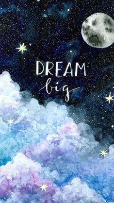 East Urban Home 'Dream Big' Painting Print on Canvas - Galaxis Watercolor Galaxy, Galaxy Painting, Galaxy Art, Watercolor Clouds, Diy Galaxy, Painting Quotes, Painting Prints, Watercolor Paintings, Drawing Quotes
