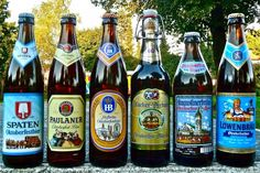 The six beers from Augustiner-Bräu, Munich's oldest independent brewery. The labels haven't changed in 20 years and still look great.