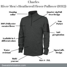 Charles River Men's Heathered Fleece Pullover Overview Fleece Jackets, Charles River, Pullover Designs, Color Mixing, Sweatshirt, Men, Wool Coats, Wool Jackets, Trainers
