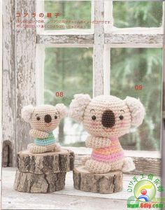 Koala Bear Amigurumi - Free Japanese Chart Idea: Make a family set w/ different pody types/proportions & clothing colours