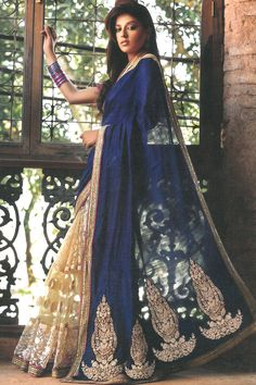 Designer Embroidered Party Saree; Dark Blue and Peach Yellow Net and Tussar Silk Embroidered Party and Festival Saree