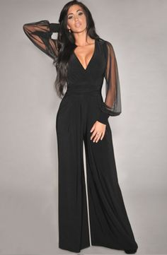 DearLove Winter Autumn Club Party Black V-neck Embellished Cuffs Long Mesh Sleeves Loose Jumpsuit rompers womens jumpsuit Jumpsuit Damen Elegant, Formal Jumpsuit, White Jumpsuit, Mesh Jumpsuit, Cotton Jumpsuit, Short Jumpsuit, Pant Jumpsuit, Elegantes Outfit, Long Jumpsuits