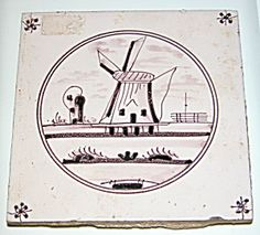 ANTIQUE DUTCH BELGIAN HANDPAINTED DELFT WINDMILL TILE