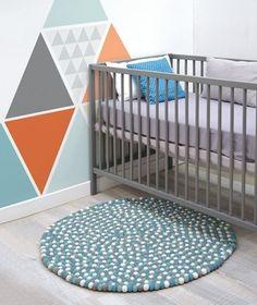 alfombra bolitas tonos azules habitacion infantil - minimoi