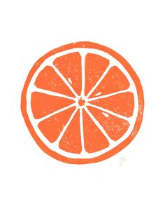 LINOCUT PRINT - Orange letterpress poster - citrus fruit 8x10. $20.00, via Etsy.