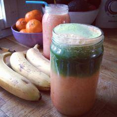Smoothie og grønt juice