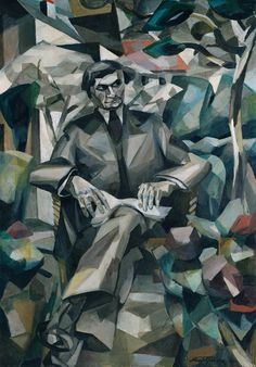 "this picture is abstract and a little bit melancholy because he doesnt use much colour. you can clearly tell that its a painting of a guy and then the background is abstract. Albert Gleizes ""Portrait of Jacques Nayral"" Pablo Picasso, Picasso And Braque, Georges Braque, Georges Seurat, Cubist Art, Abstract Art, People Reading, Tate Gallery, Art Terms"
