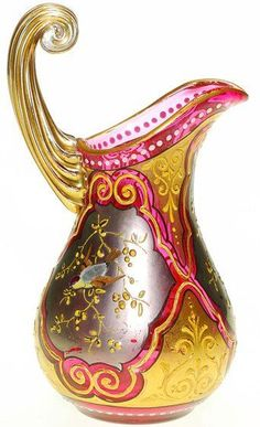 A Moser Art-Glass Cranberry Creamer/Pitcher with fired on Silver and Gold windows, a Bird or raised branches in each. Gold highlights a unique clear Reed Scroll handle. Tiffany Glass, Antique Glass, Antique Art, Cut Glass, Glass Art, Bohemia Glass, Cranberry Glass, Bird On Branch, Gold Highlights