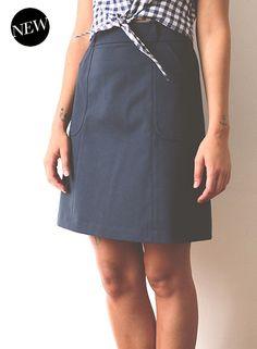 Patron pdf téléchargeable de la jupe Charlotte de République du Chiffon (7,60€) Niveau 1/4 Disponible en 3 longueurs A réaliser en dénim, lin, coton ou gabardine avec 140 x140 cm de tissu + 1 zip invisible