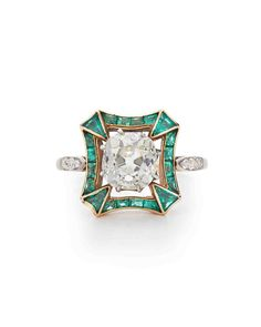 art deco emerald and diamond colorful engagement rings.