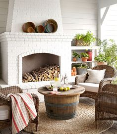 Absolutely dreamy outdoor fireplace. Love the regional history nod with the wine/whiskey barrel outdoor coffee table