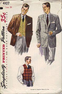 Simplicity Vintage Sewing Pattern 1940s Men's Jacket Vest Business Suit. $18.00, via Etsy.