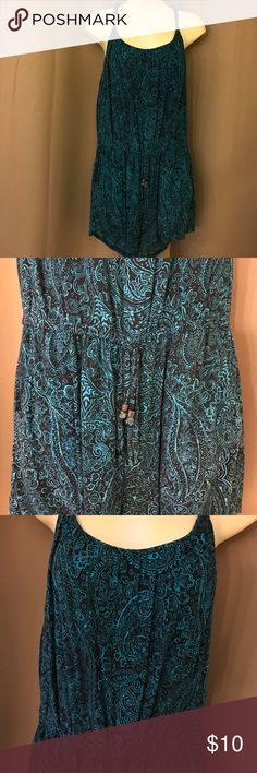 Paisley Romper F21 romper with pretty bright teal paisley prints on a black background. Third photo shows the color best. Size Large, true to size. Forever 21 Pants Jumpsuits & Rompers
