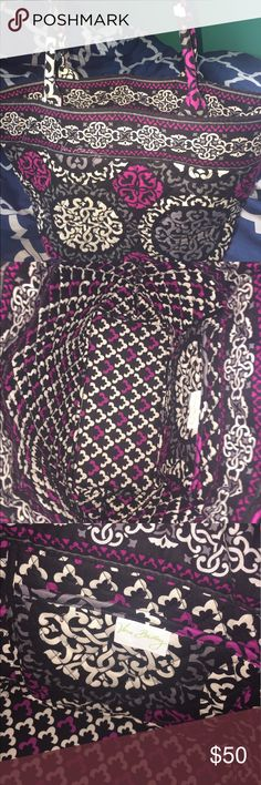 Never Used Vera Bradley Small Tote Bag This is a small to medium sized small tote bag from Vera Bradley. It has a pink, black, white, and grey pattern. Has never been used before! One inside pocket. Height is 9 inches, length is 14.5 inches, and the width is 5.25 inches. Vera Bradley Bags Totes