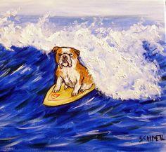 bulldog surfing animal dog pet gift art tile coaster
