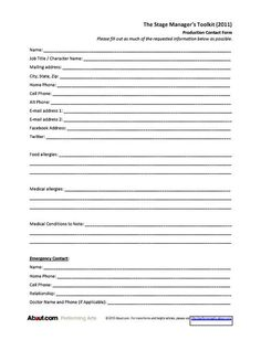 Useful Forms for Stage Managers (from Sign-in Sheets to Checklists): Production Cast/Crew Contact Form Theater, Theatre Stage, Theatre Geek, Emergency Contact Form, Theatre Auditions, Stage Crew, Teaching Theatre, Sign In Sheet, Manager Resume