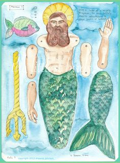 articulated merman paper doll by MrsJbird on Etsy, $12.00