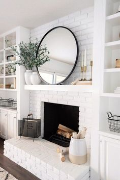 modern farmhouse living room with fireplace decor, fireplace mantle decor, mantle styling in neutral living room design with rustic mantle white brick fireplace with shiplap and open shelf decor, bookshelves next to fireplace Living Room Mirrors, Living Room With Fireplace, Home Living Room, Fireplace In Kitchen, Mirror Room, Fireplace Living Rooms, Living Room Ideas, Office With Fireplace, Bedroom Ideas
