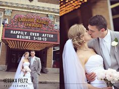 Fountain Square Theater Wedding, Indianapolis Wedding Photographers, bride and groom poses, bride and groom in front of theater marquee