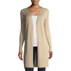 Neiman Marcus Ribbed Open-Front Cardigan (3.180 RUB) ❤ liked on Polyvore featuring tops, cardigans, sand, shawl collar cardigans, ribbed top, shawl collar open cardigan, relaxed fit tops and long sleeve open cardigan