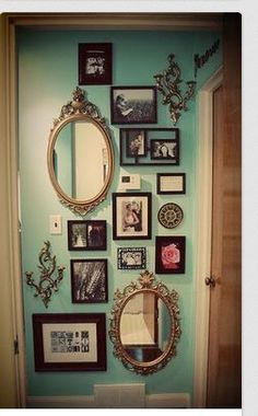 Mix Up A Gallery Wall With Varied Frame Styles Shapes And Vintage Frame Mirrors