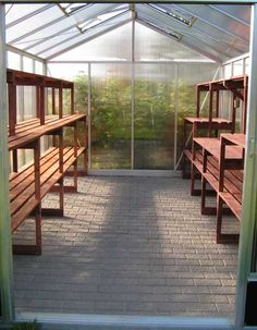 Nice shelving layout with workspace.Need to add shelves at far end as well Greenhouse Shelves, Diy Greenhouse Plans, Greenhouse Interiors, Backyard Greenhouse, Small Greenhouse, Greenhouse Gardening, Backyard Landscaping, Greenhouse Benches, Garden Shelves