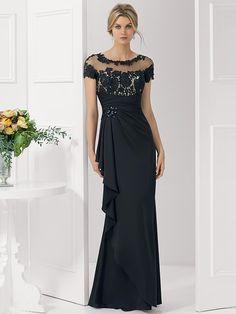Trumpet/Mermaid Short Sleeves Satin Sheer Neck Applique Floor-Length Dresses
