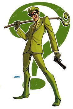 The RIddler --- by Dave Johnson Comic Book Characters, Comic Character, Comic Books Art, Comic Art, Gotham Villains, Comic Villains, Marvel Dc, Star Trek, D Mark
