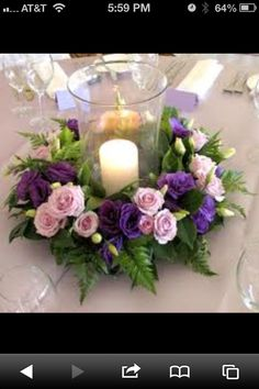 Buffet table centerpiece like this...need hot pink rose candle ring, vase, & ivory candle (make 4)