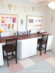 "Craftroom - I want to set up a special corner like this so the kids can be working on art projects while I craft/sew. Have an ""art display"" area on the wall."