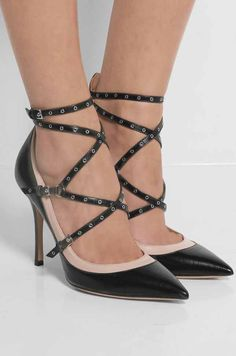 Love Latch eyelet-embellished leather pumps