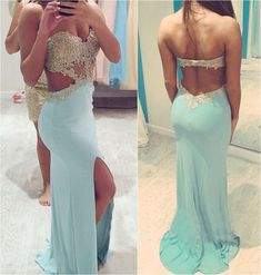 sexy long tiffany blue prom dress
