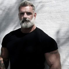 Geo Marchello the biggest, baddest, prematurely grey haired man on the earth. Geo believe it or not is in his early thirties and even though he looks and acts like a badass he has a heart of solid gold. Anthony Varrecchia, Older Mens Fashion, Great Beards, Silver Foxes, Beard Lover, Moustaches, Mature Men, Hair And Beard Styles, Hairy Men