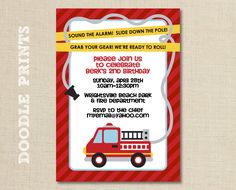 """Printable Fire Truck Birthday Party Invitation - Customized Printable Invitation Boy's Party """"Fire Alarm Fire Fighter Design"""" 4x6"""" or 5x7"""" by doodleprints on Etsy https://www.etsy.com/listing/98052767/printable-fire-truck-birthday-party"""
