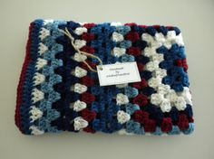 Crochet Blanket Baby Child Red White and Blues Child Stroller Carriage Car Size 29 X 30  Handmade Granny Square