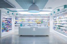 Farmacia Global Supermarket Design, Retail Store Design, Retail Stores, Cafe Interior, Shop Interior Design, Jewelry Store Design, Counter Design, Clinic Design, Booth Design