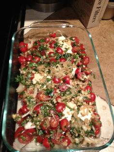 Bruschetta chicken = 4 skinless, boneless chicken breasts, 4 – 5 garlic cloves, 1 cup fresh basil, 1 tablespoon olive oil, 1 tsp. balsamic vinegar, 1/4 cup water, 1 package of cherry or grape tomatoes, 1/2 red onion. Bake at 350. Yum!