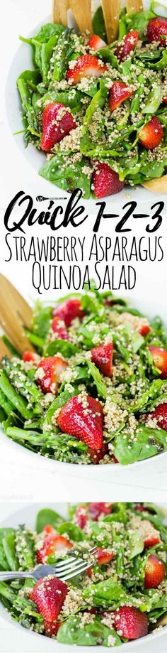 Strawberry Asparagus Quinoa Salad recipe packed with fresh ingredients and bringing the taste of sweet, sweet summer to the table. (Gluten Free, Dairy-Free, Vegan Friendly)v