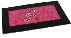 Custom Hot Pink Rug with Black Border with Zebra Print Initial Inlay