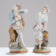 Pair French bisque porcelain figurines, 19th Century Victorian.