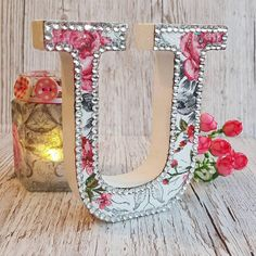 Letter U, vintage floral with rhinestones, glitter, initial, personalized, decoupage, flower