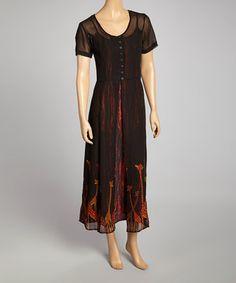 Love this Black Giraffe Hem Henley Dress - Women by Phool Fashion on #zulily! #zulilyfinds