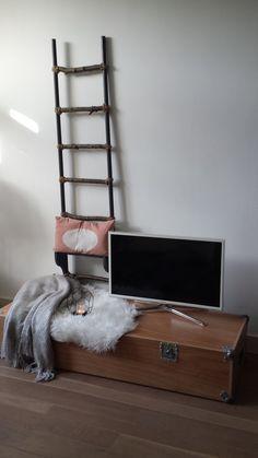 TV meubel van een flight case. Koffer waarin door een band een elektrische piano werd vervoerd. Ladder gemaakt van oude stelten!