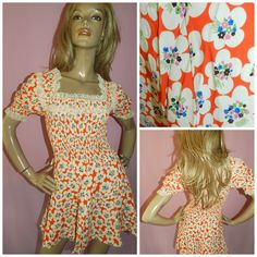 Vintage 60s 70s ORANGE DITSY Floral print Lace trim MINI dress 4-6 Xxs 1960s 1970s Kitsch Flower Power by HoneychildLoves on Etsy