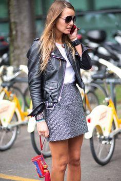 Minifalda chaqueta cuero negro