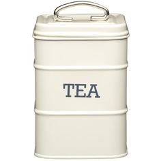 Living Nostalgia Tea Canister Cream ($10) ❤ liked on Polyvore featuring home, kitchen & dining, food storage containers, decor, ivory canisters, tin tea canister, sugar canister, square food storage containers and tin canisters