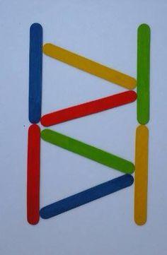 Gekleurde stokjes naleggen Pop Sicle, Block Play, Preschool Class, Gross Motor Skills, Montessori, Lego, Symbols, Letters, Activities