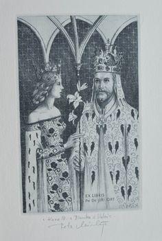 Minka Petr-Karel IV. a Blanka z Valois Minka, Ex Libris, Czech Republic, Prague, Bohemian, Art, Art Background, Kunst, Boho
