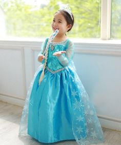 J731 Movies Frozen snow queen Elsa Cosplay Costume Dress kids girl with cape snowflake on Etsy, $49.99
